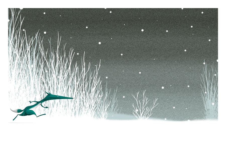 loup court sous la neige jalbert illustration