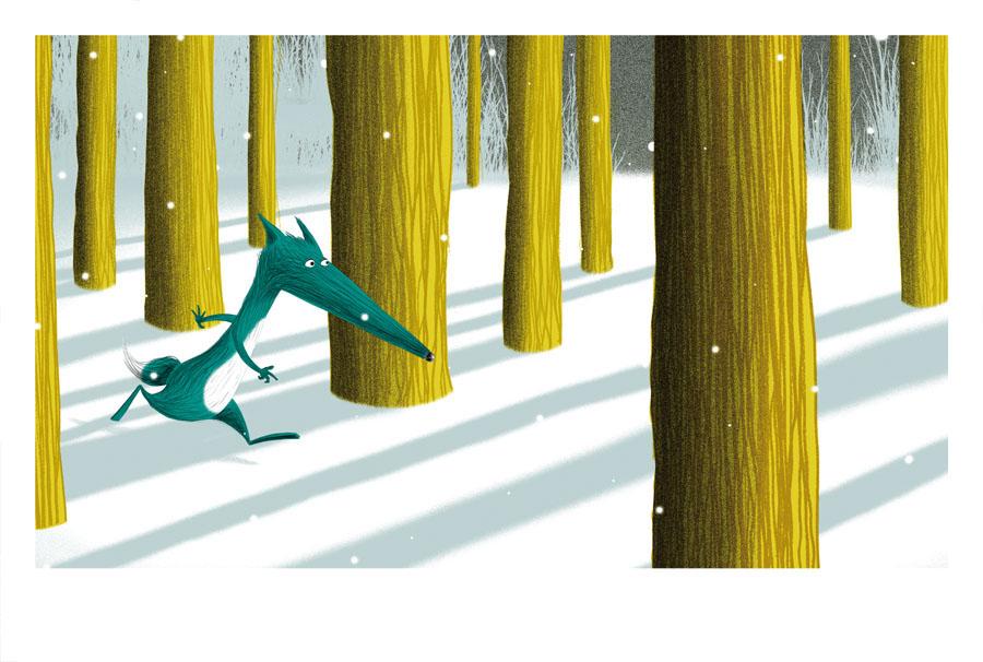 loup court à travers la forêt jalbert illustration