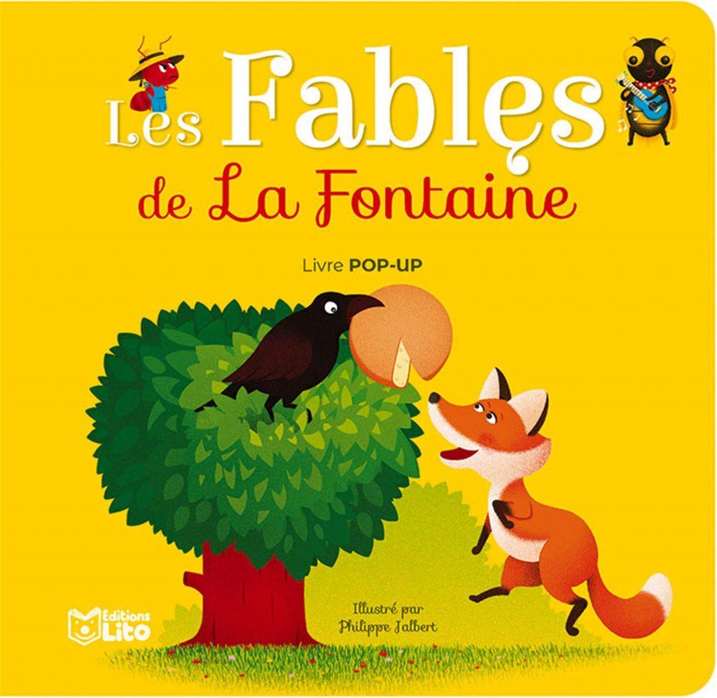 Couverture du livre des fables de Jean de la Fontaine en pop-up